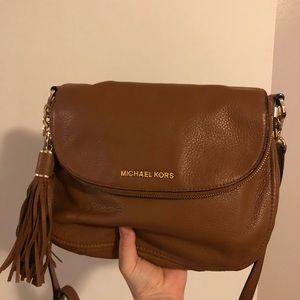MK Bedford Medium Tassel Brown Leather Crossbody